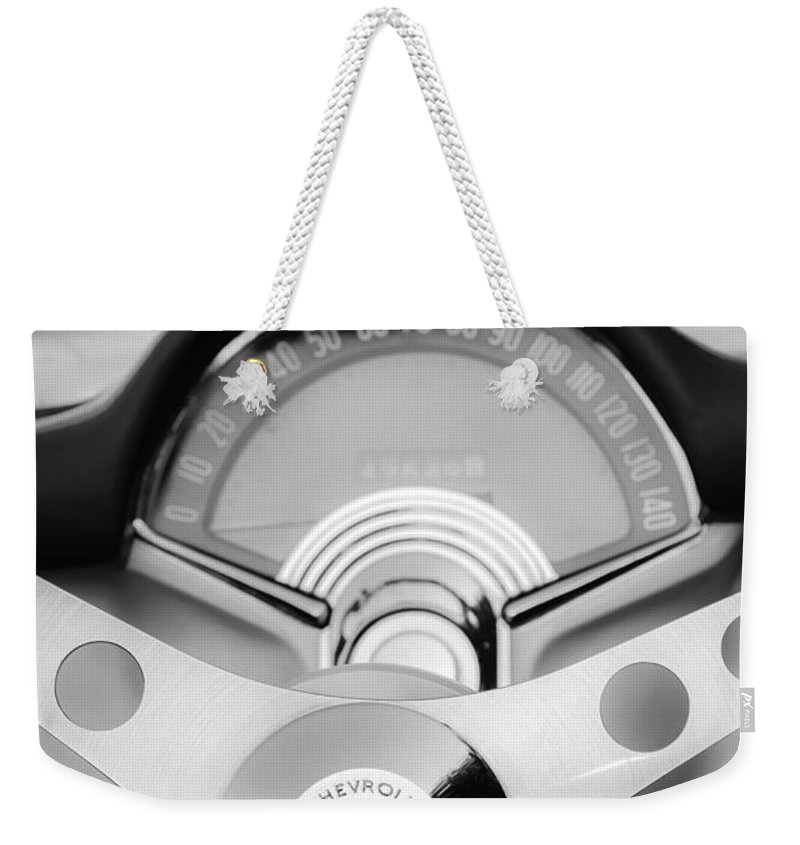 1957 Chevrolet Corvette Convertible Weekender Tote Bag featuring the photograph 1957 Chevrolet Corvette Convertible Steering Wheel 2 by Jill Reger