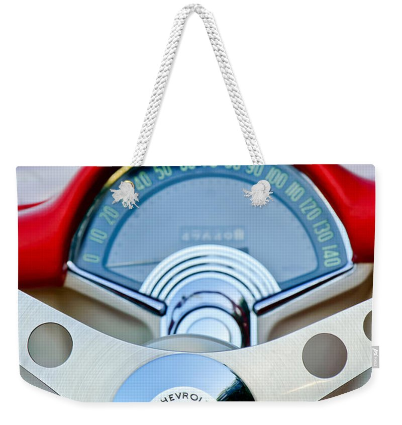 Car Weekender Tote Bag featuring the photograph 1957 Chevrolet Corvette Convertible Steering Wheel by Jill Reger