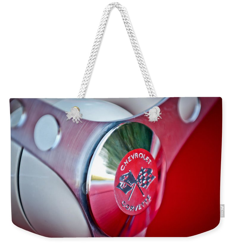 1957 Chevrolet Corvette Steering Wheel Weekender Tote Bag featuring the photograph 1957 Chevrolet Corvette Steering Wheel -294c by Jill Reger