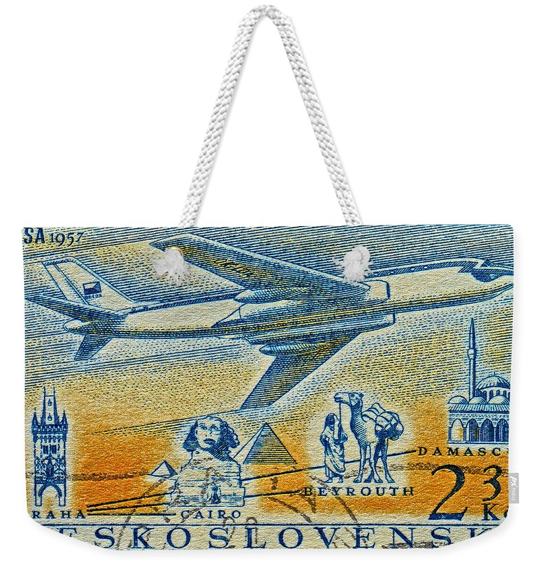 1957 Weekender Tote Bag featuring the photograph 1957 Czechoslovakia Airline Stamp by Bill Owen