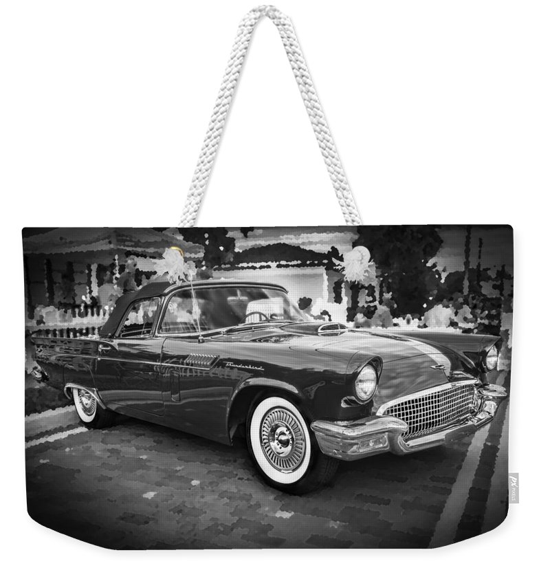 1957 Ford Thunderbird Weekender Tote Bag featuring the photograph 1957 Ford Thunderbird Convertible Bw by Rich Franco