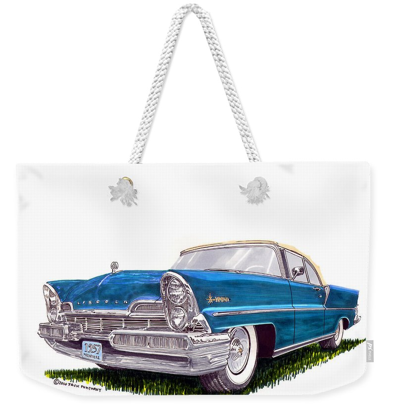 Classic Car Art Weekender Tote Bag featuring the painting 1957 Lincoln Premiere Convert by Jack Pumphrey