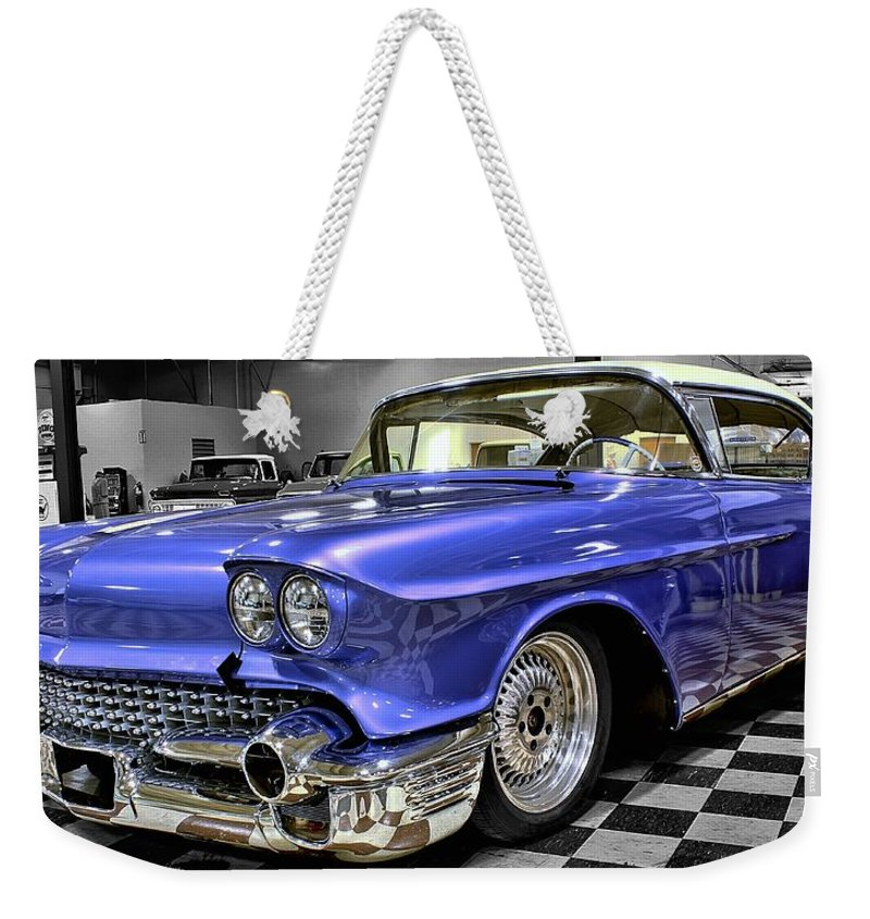 1958 Weekender Tote Bag featuring the photograph 1958 Cadillac Deville by Michael Gordon