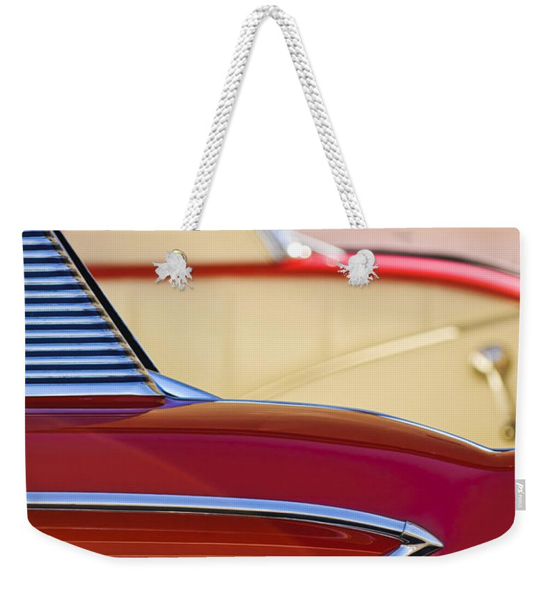 1958 Chevrolet Belair Weekender Tote Bag featuring the photograph 1958 Chevrolet Belair Abstract by Jill Reger