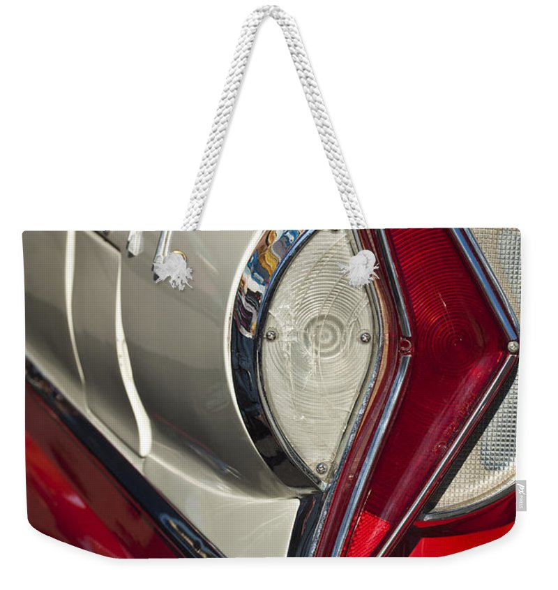 1958 Edsel Wagon Weekender Tote Bag featuring the photograph 1958 Edsel Wagon Tail Light by Jill Reger