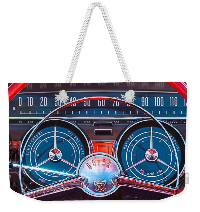 Car Weekender Tote Bag featuring the photograph 1959 Buick Lesabre Steering Wheel by Jill Reger
