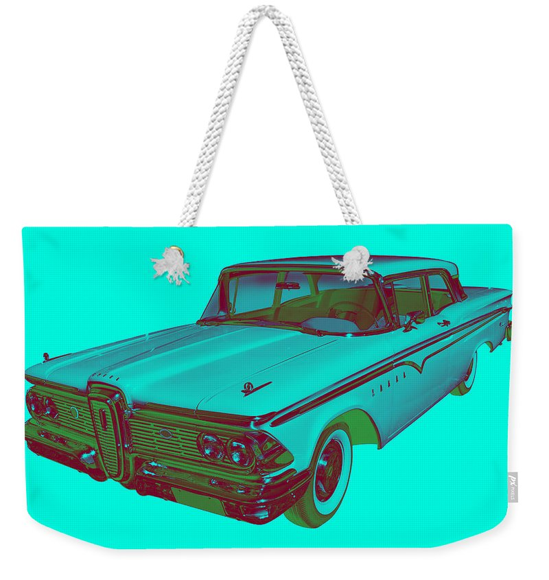 1959 Edsel Ranger Weekender Tote Bag featuring the photograph 1959 Edsel Ford Ranger Modern Popart by Keith Webber Jr