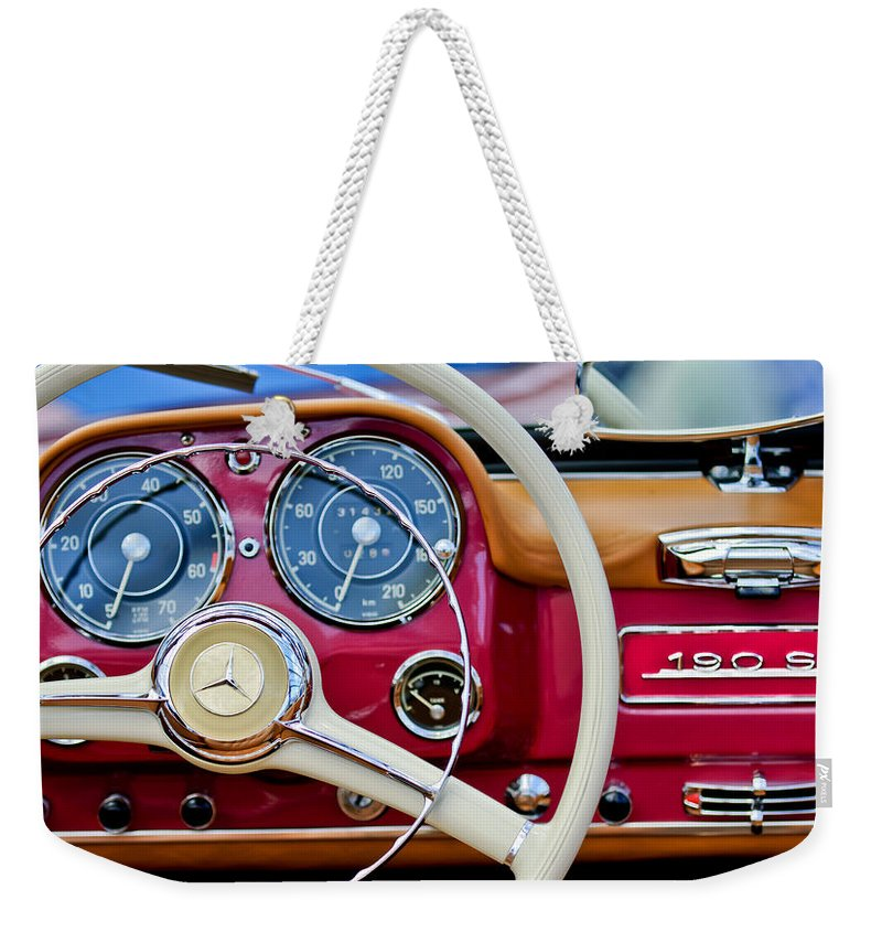 1959 Mercedes-benz 190 Sl Weekender Tote Bag featuring the photograph 1959 Mercedes-benz 190 Sl Steering Wheel by Jill Reger