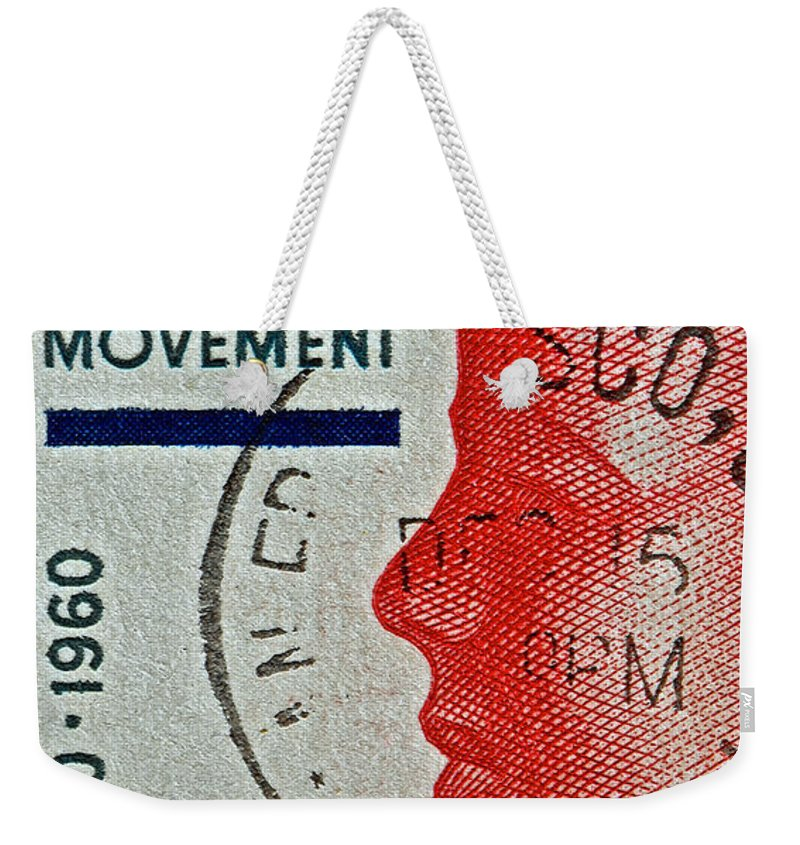 1960 Weekender Tote Bag featuring the photograph 1960 Boys' Clubs Of America Movement Stamp by Bill Owen