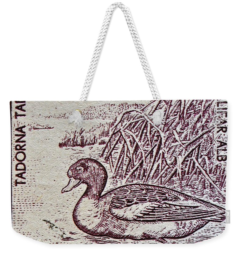 1960 Weekender Tote Bag featuring the photograph 1960 Romanian Common Shelduck Stamp by Bill Owen