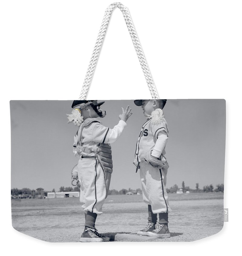 Photography Weekender Tote Bag featuring the photograph 1960s Boy Little Leaguer Pitcher by Vintage Images