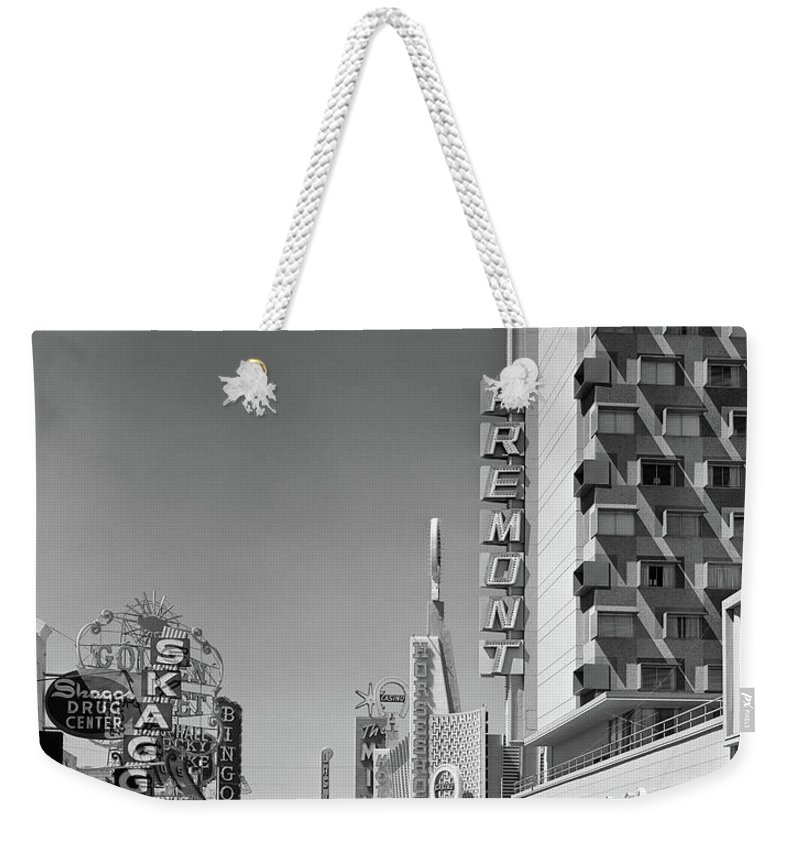 Photography Weekender Tote Bag featuring the photograph 1960s View Down Freemont Street by Vintage Images
