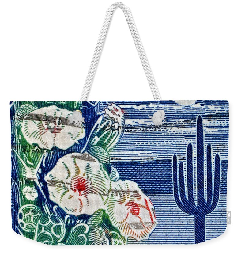 1962 Weekender Tote Bag featuring the photograph 1962 Arizona Stamp by Bill Owen