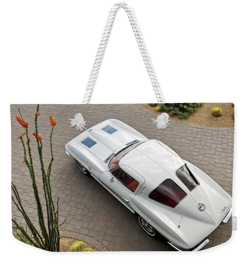 1963 Chevrolet Corvette Weekender Tote Bag featuring the photograph 1963 Chevrolet Corvette Split Window -440c by Jill Reger