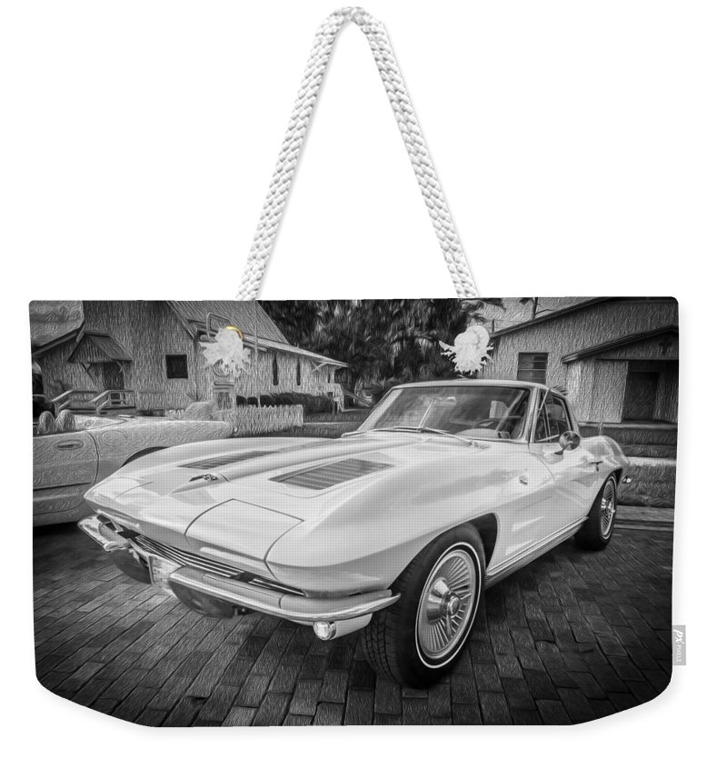 1963 Weekender Tote Bag featuring the photograph 1963 Chevy Corvette Coupe Painted Bw  by Rich Franco