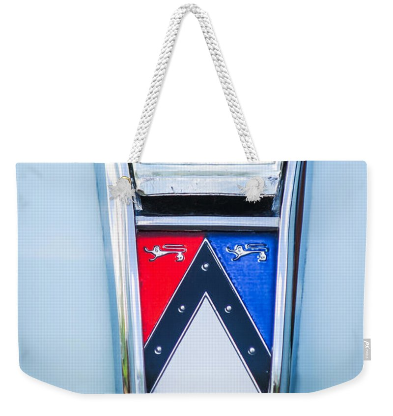1963 Ford Falcon Futura Convertible Emblem Weekender Tote Bag featuring the photograph 1963 Ford Falcon Futura Convertible Emblem by Jill Reger
