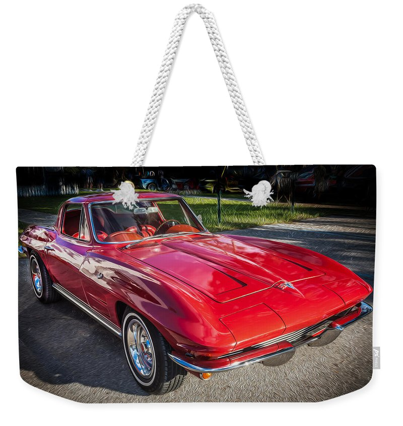 1964 Weekender Tote Bag featuring the photograph 1964 Chevy Corvette Coupe by Rich Franco