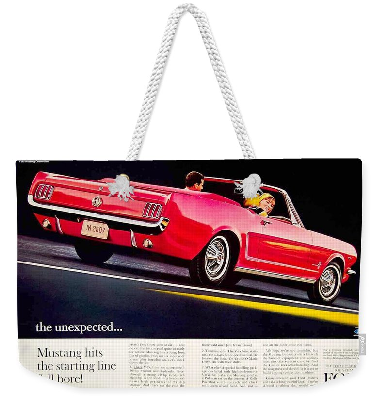 1964 Weekender Tote Bag featuring the digital art 1964 - Ford Mustang Convertible - Advertisement - Color by John Madison