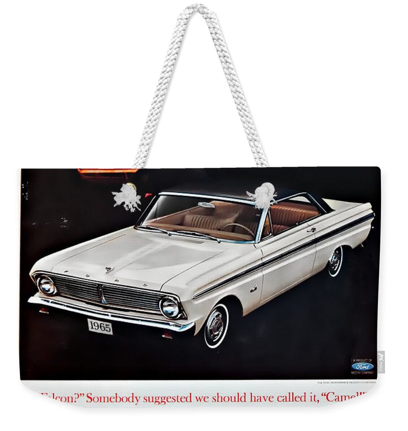 1965 Ford Falcon Ad Weekender Tote Bag featuring the photograph 1965 Ford Falcon Ad by Steve Harrington