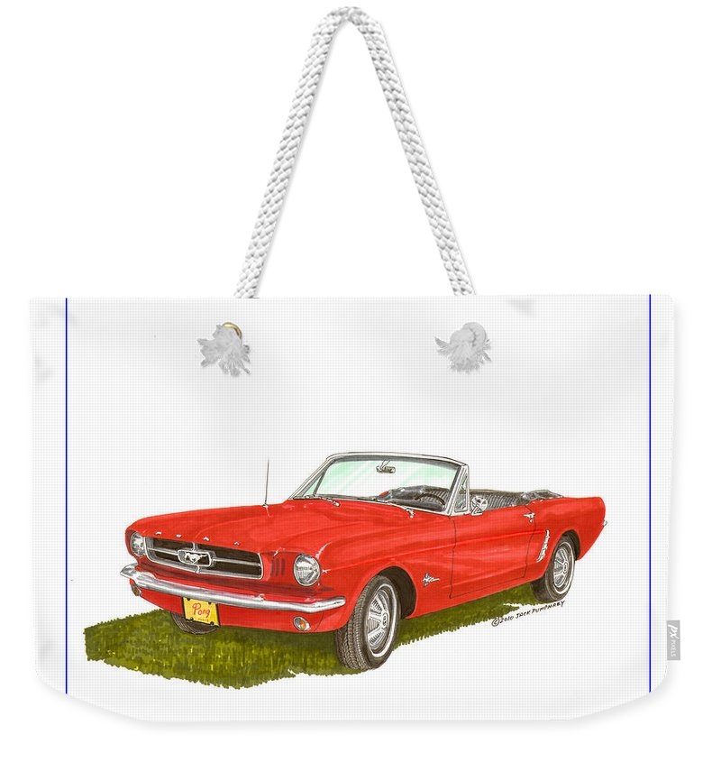 Jackscarart Weekender Tote Bag featuring the painting 1965 Ford Mustang Convertible Pony Car by Jack Pumphrey