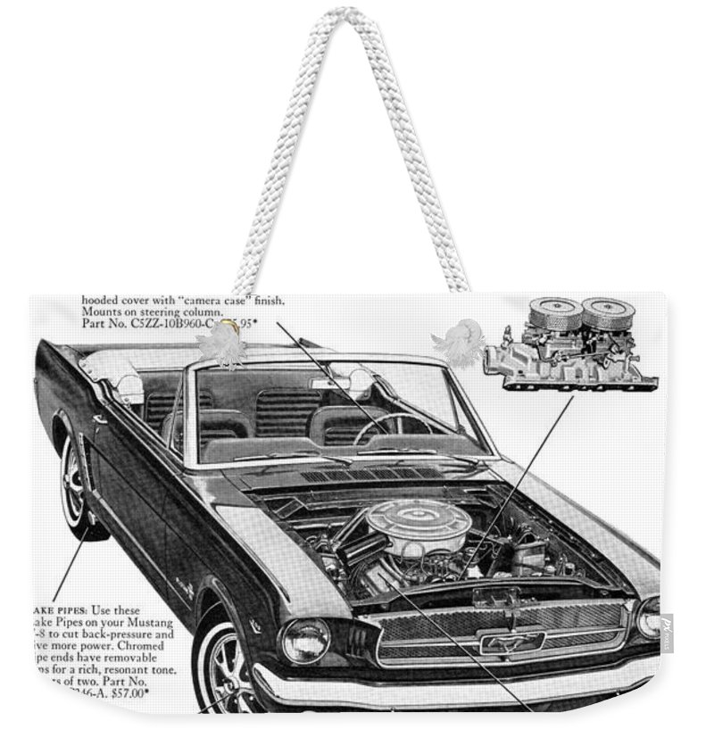 1964 Weekender Tote Bag featuring the digital art 1965 Ford Mustang Performance Kits by Digital Repro Depot