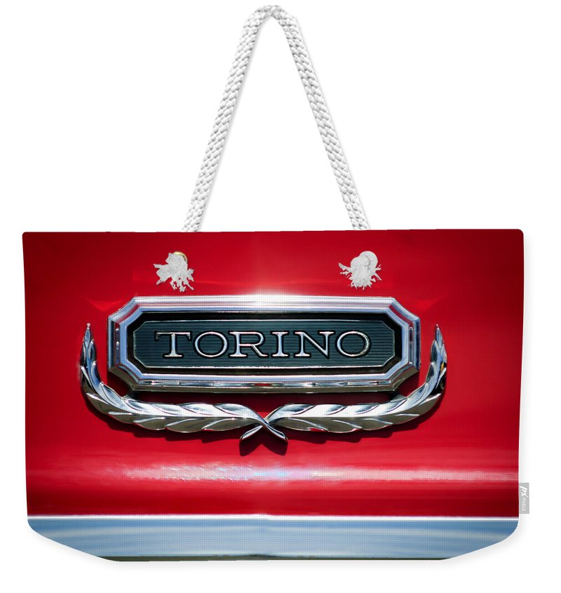 1965 Ford Torino Emblem Weekender Tote Bag featuring the photograph 1965 Ford Torino Emblem by Jill Reger