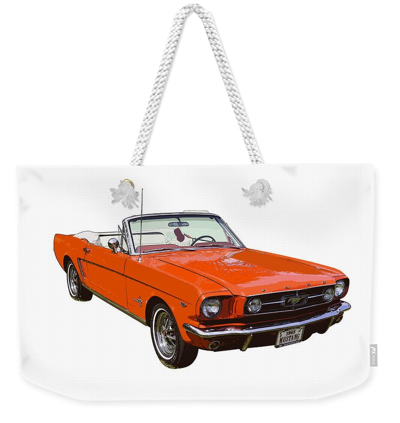 00348732 Mustang Weekender Tote Bag featuring the photograph 1965 Red Convertible  Ford Mustang - Classic Car by