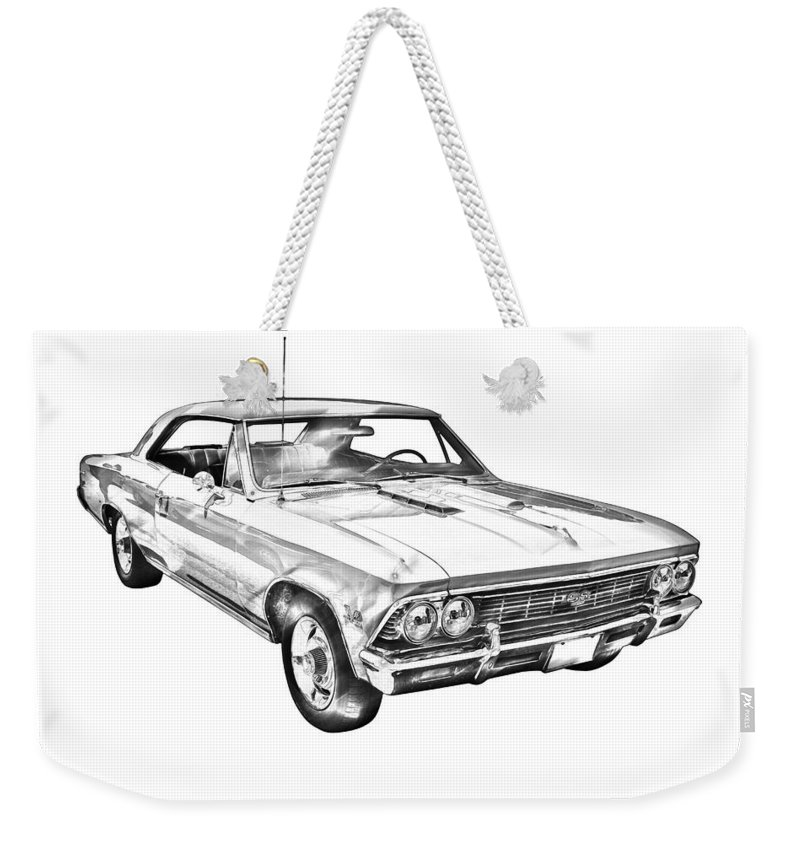 Automobile Weekender Tote Bag featuring the photograph 1966 Chevy Chevelle Ss 396 Illustration by Keith Webber Jr