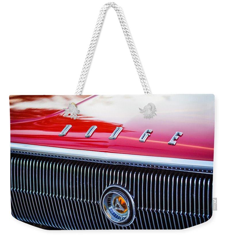 1966 Dodge Charger Grille Emblem Weekender Tote Bag featuring the photograph 1966 Dodge Charger Grille Emblem by Jill Reger