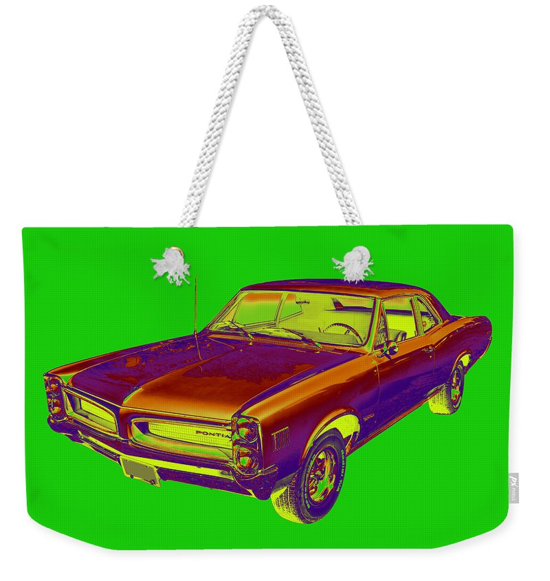 1966 Pontiac Lemans Weekender Tote Bag featuring the photograph 1966 Pointiac Lemans Car Pop Art by Keith Webber Jr