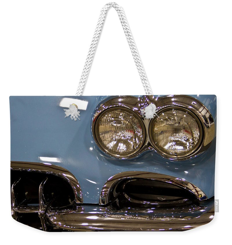 Retro Weekender Tote Bag featuring the photograph 1967 Blue Corvette-front Left by Eti Reid