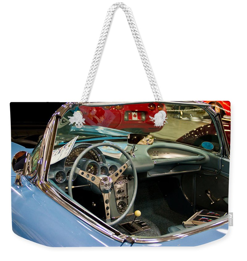 Retro Weekender Tote Bag featuring the photograph 1967 Blue Corvette-interior And Wheel by Eti Reid