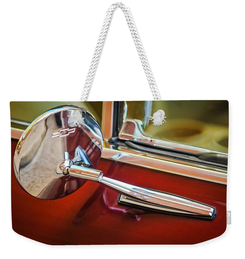 1967 Chevrolet Camaro Ss 350 Rear View Mirror Emblem Weekender Tote Bag featuring the photograph 1967 Chevrolet Camaro Ss 350 Rear View Mirror Emblem by Jill Reger