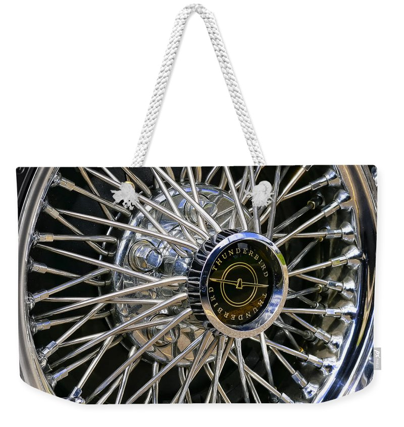 1967 Weekender Tote Bag featuring the photograph 1967 Ford Thunderbird Wire Wheel by Gordon Dean II