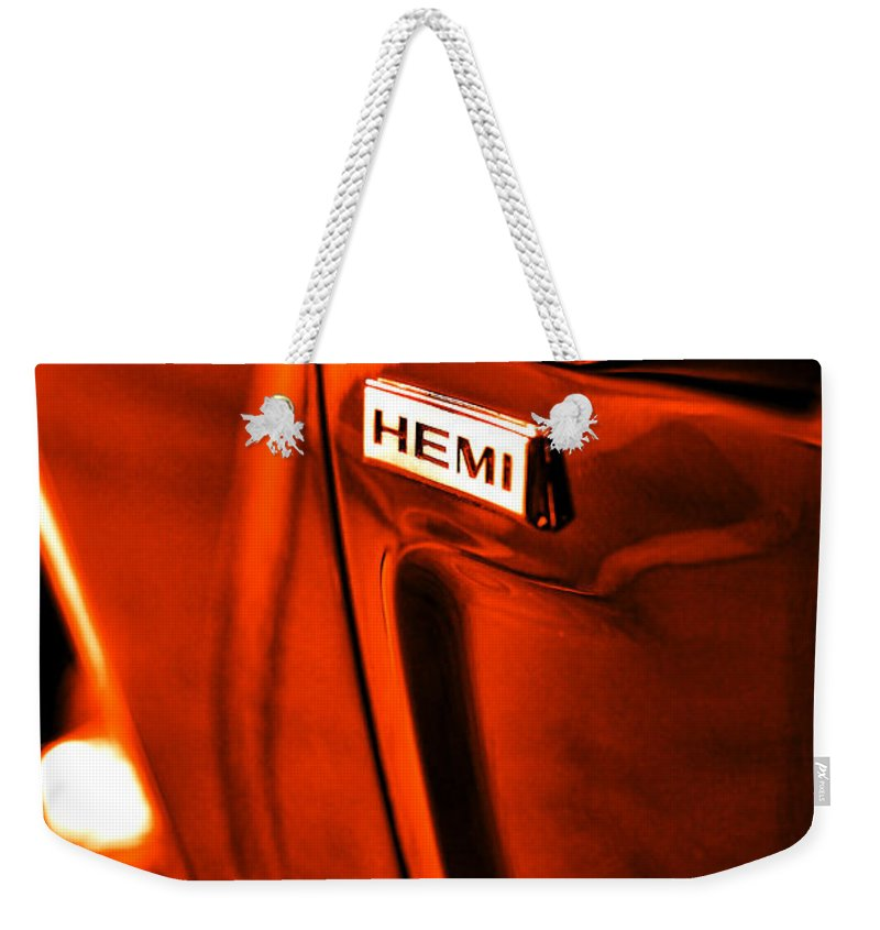 1968 Weekender Tote Bag featuring the photograph 1968 Hemi Dodge Charger by Gordon Dean II