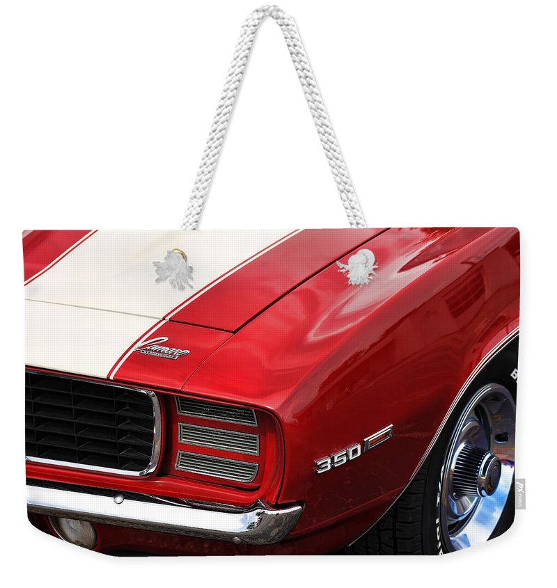 1969 Weekender Tote Bag featuring the photograph 1969 Chevy Camaro Rs by Gordon Dean II