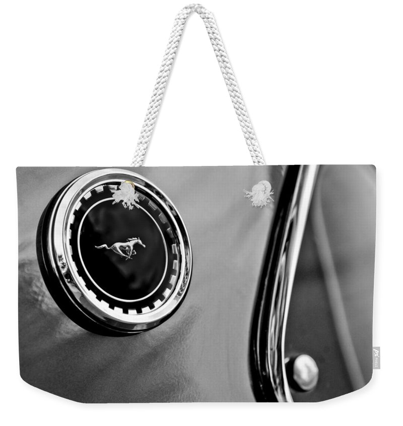1969 Ford Mustang Mach 1 Weekender Tote Bag featuring the photograph 1969 Ford Mustang Mach 1 Side Emblem by Jill Reger