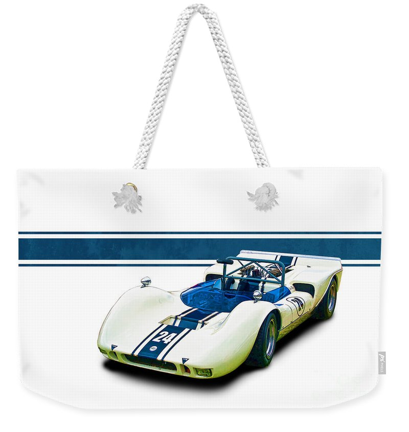 1969 Weekender Tote Bag featuring the photograph 1969 Mrc Mkii Repco Brabham by Stuart Row