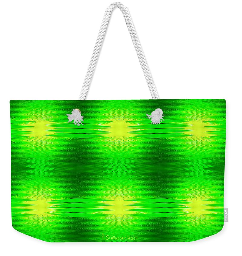 Geometric Weekender Tote Bag featuring the digital art 197 - Deco Green 2 by Irmgard Schoendorf Welch