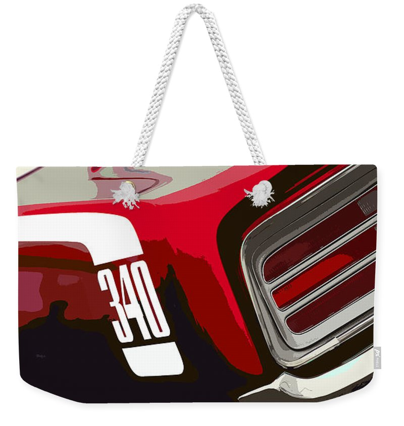 Red Weekender Tote Bag featuring the photograph 1970 Plymouth Barracuda 'cuda 340 by Gordon Dean II