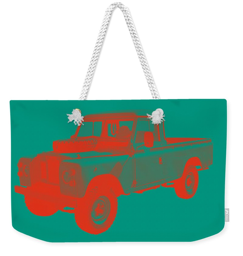 1971 Landrover Weekender Tote Bag featuring the photograph 1971 Land Rover Pick Up Truck Modern Art by Keith Webber Jr