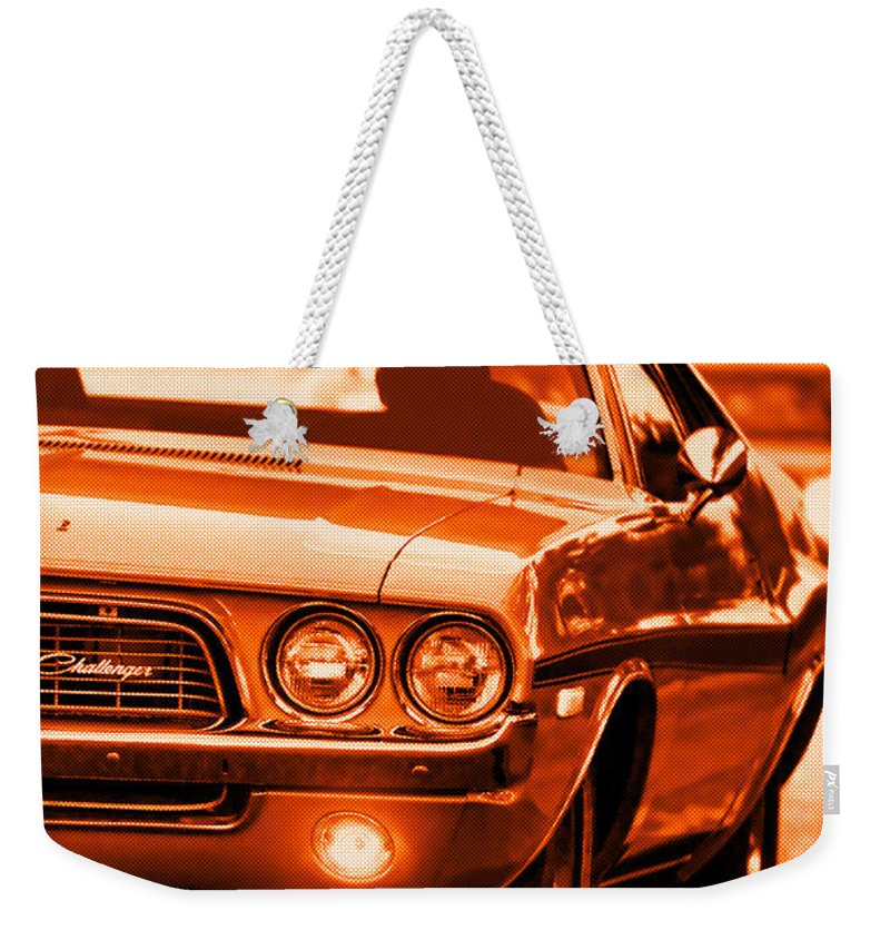 Weekender Tote Bag featuring the photograph 1972 Dodge Challenger in Orange by Gordon Dean II