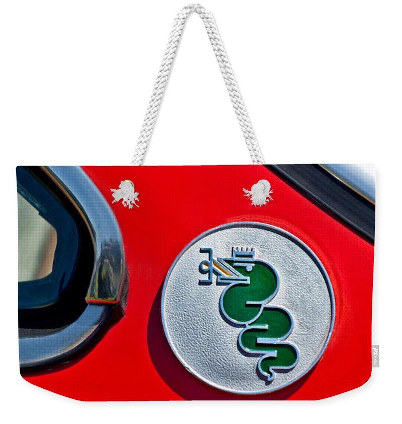 1974 Alfa Romeo Gtv Weekender Tote Bag featuring the photograph 1974 Alfa Romeo Gtv Emblem by Jill Reger