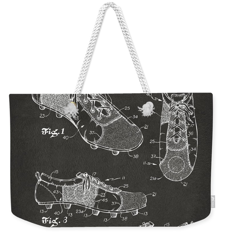 Soccer Weekender Tote Bag featuring the digital art 1980 Soccer Shoes Patent Artwork - Gray by Nikki Marie Smith