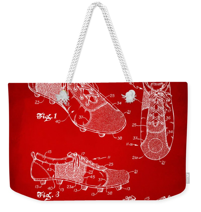 Soccer Weekender Tote Bag featuring the digital art 1980 Soccer Shoes Patent Artwork - Red by Nikki Marie Smith