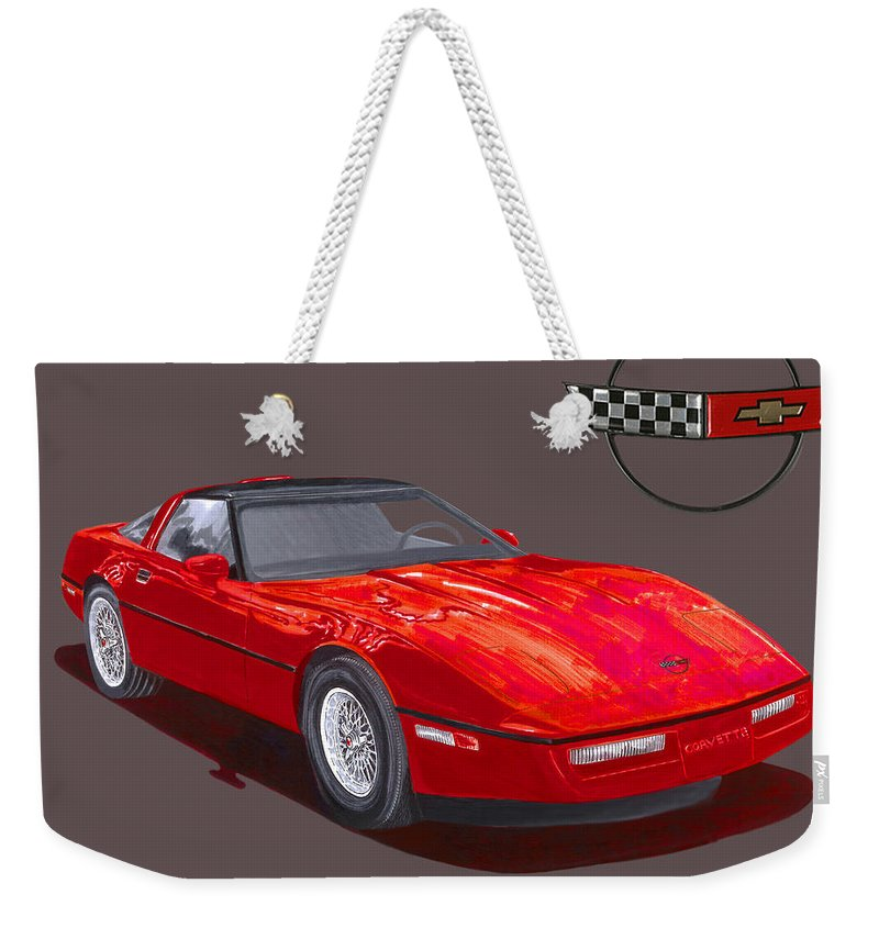 Watercolor Painting Of The 1986 Corvette By Jack Pumphrey Weekender Tote Bag featuring the painting 1986 Corvette by Jack Pumphrey