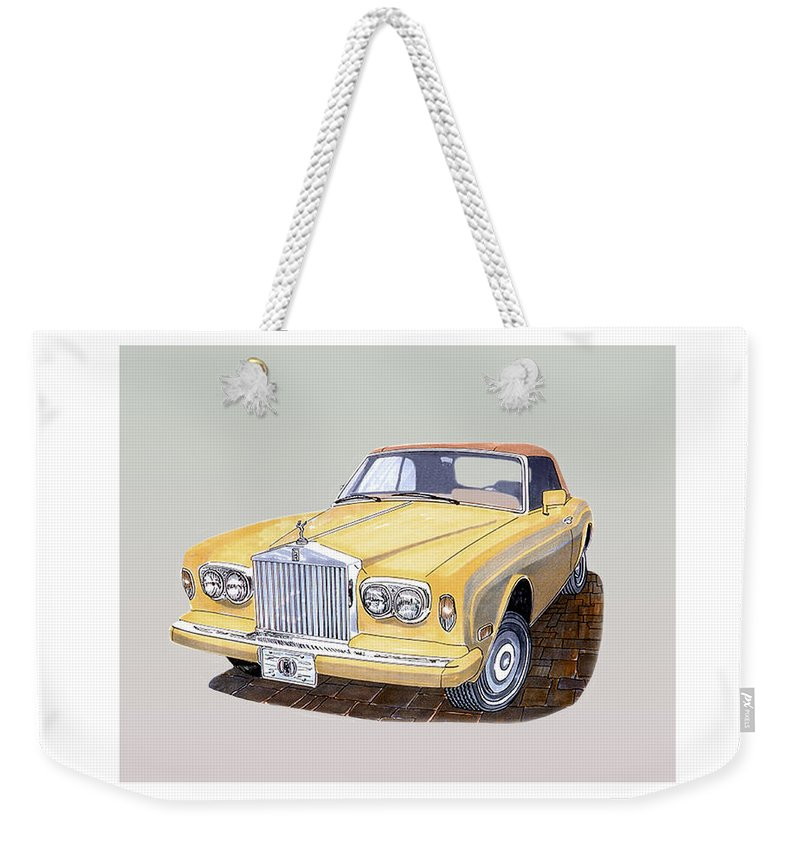 1988 Rolls-royce's Corniche Convertible Artwork By Jack Pumphrey Weekender Tote Bag featuring the painting 1988 Rolls Royce's Corniche Convertible by Jack Pumphrey