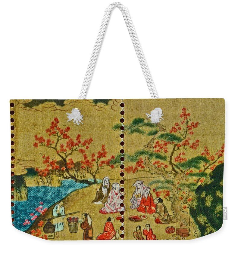 1994 Weekender Tote Bag featuring the photograph 1994 Japanese Stamp Collage by Bill Owen