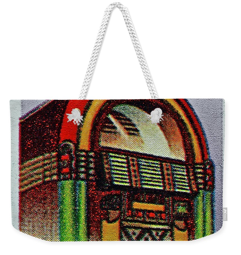 1995 Weekender Tote Bag featuring the photograph 1995 Jukebox Stamp by Bill Owen
