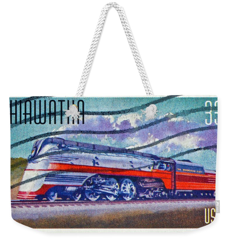 1999 Weekender Tote Bag featuring the photograph 1999 Hiawatha Train Stamp by Bill Owen